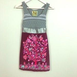 FREE PEOPLE crushed velvet beaded floral dress